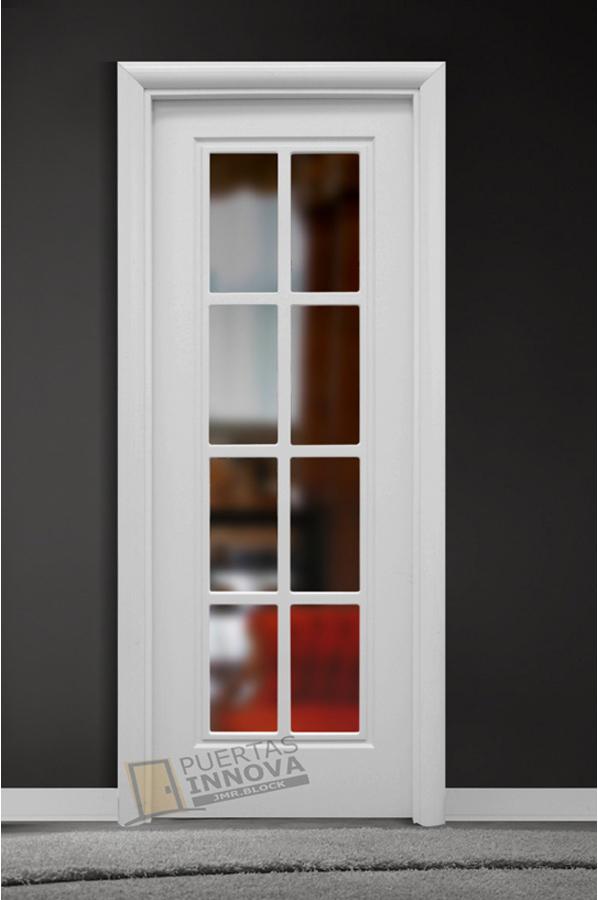 Puerta lacada blanca lac 101 v8 cristal puertas innova s l u for Puerta lacada blanca