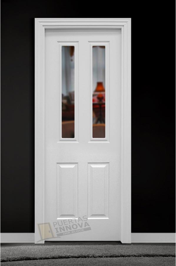 Puerta lacada blanca lac 114 v2 cristal puertas innova s l u for Puerta blanca cristal