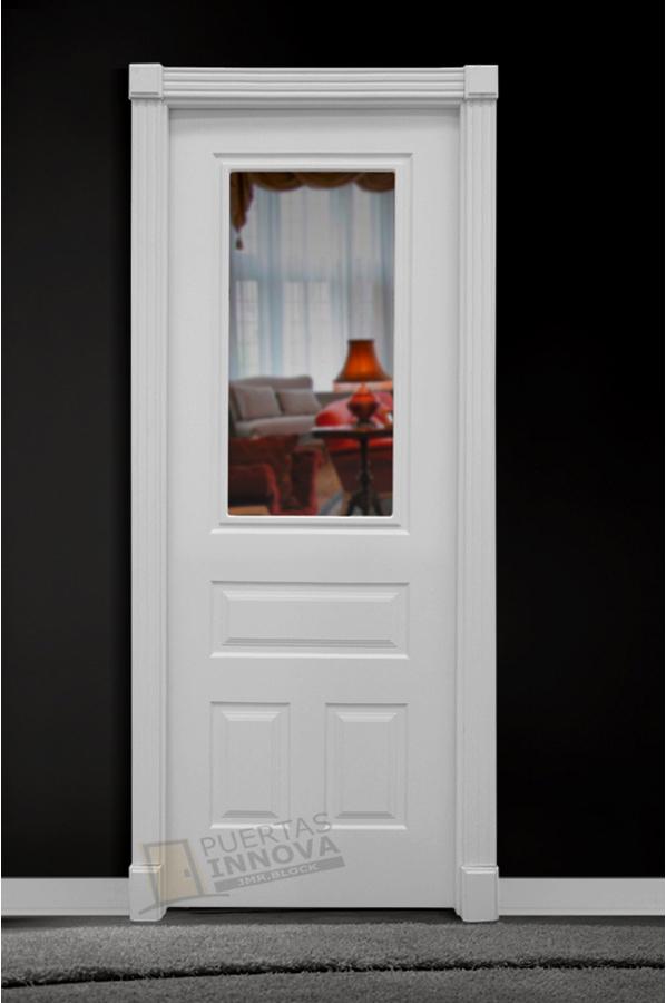 Puerta lacada blanca lac 115 1v cristal puertas innova s l u for Puerta lacada blanca