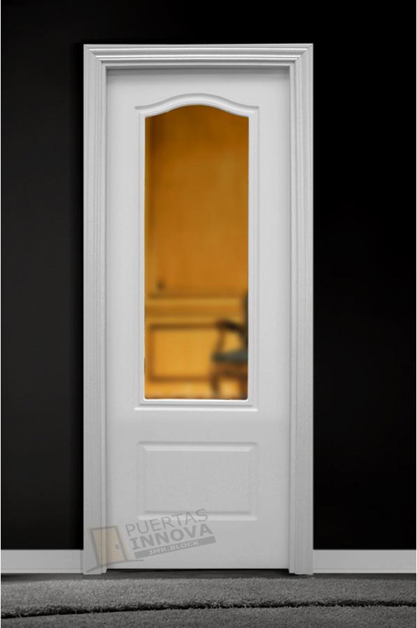 Puerta lacada blanca lac 1302 v1 cristal puertas innova for Puerta blanca cristal