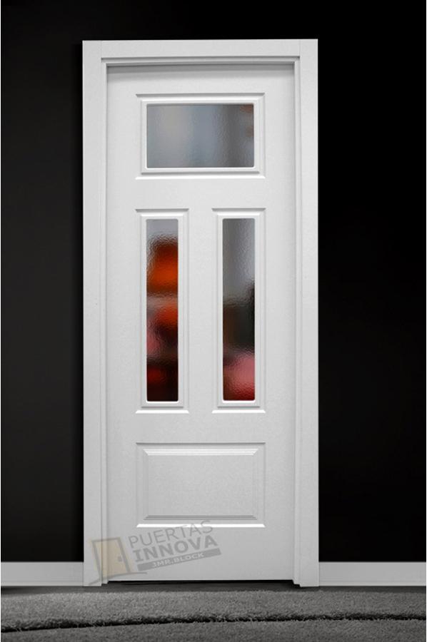 Puerta lacada blanca lac 140 v3 cristal puertas innova s l u for Puerta blanca cristal