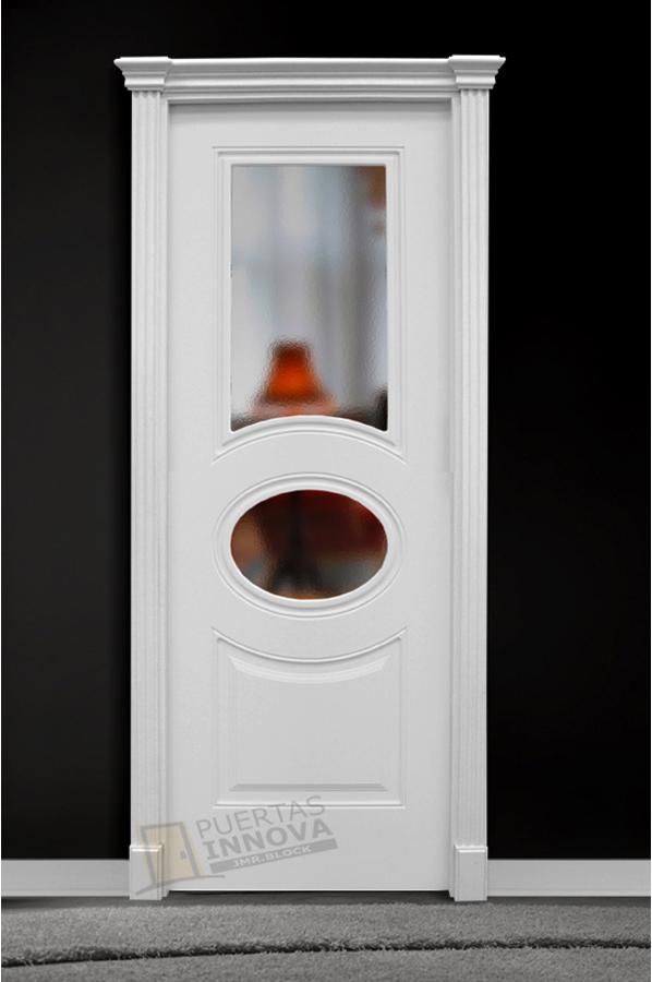 Puerta Lacada Blanca Lac 303 2v Cristal Puertas Innova S L U