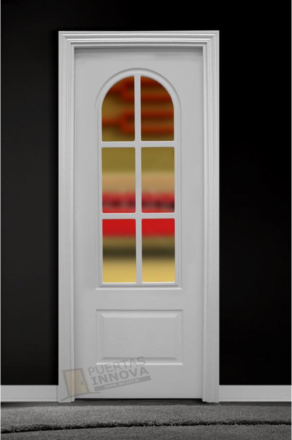 Puerta lacada blanca lac 402 v6 cristal puertas innova s l u for Puerta blanca cristal