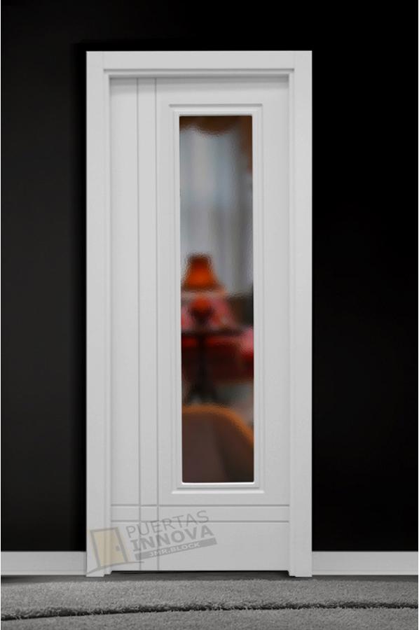 Puerta lacada blanca lac 9202 1v cristal puertas innova for Puerta blanca cristal