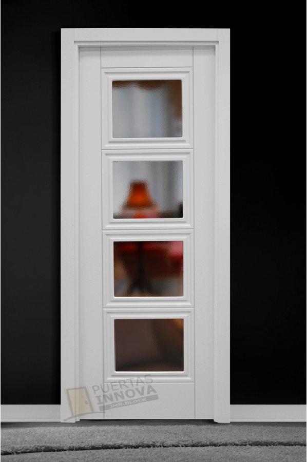 Puerta Lacada Blanca Lac 9215 V4 Cristal Puertas Innova