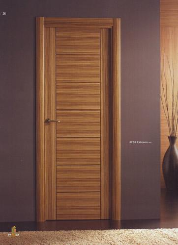 Puerta interior moderna madera 8700 zebrano puertas for Modelos de puertas para interiores