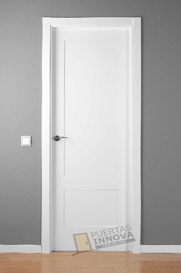 Puerta lacada blanca lac 5102 2 plafones puertas innova Precio puertas de paso