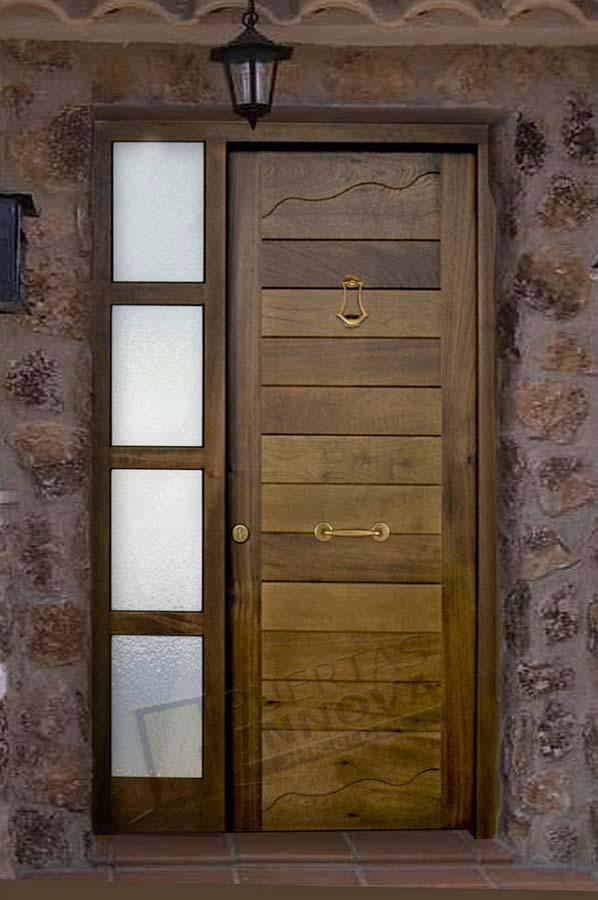 Puerta exterior moderna r4 puertas innova s l u for Cortinas para puertas de exterior