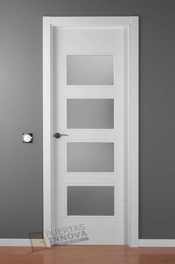 Puerta lacada blanca lac 9004 v4 cristales consultar for Cristales para puertas de interior