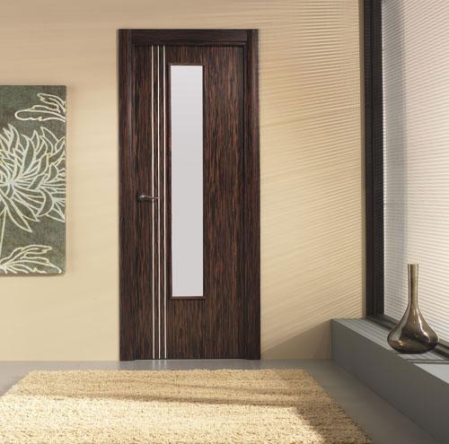 Puerta interior moderna madera v1 cristal for Puertas de madera interiores modernas