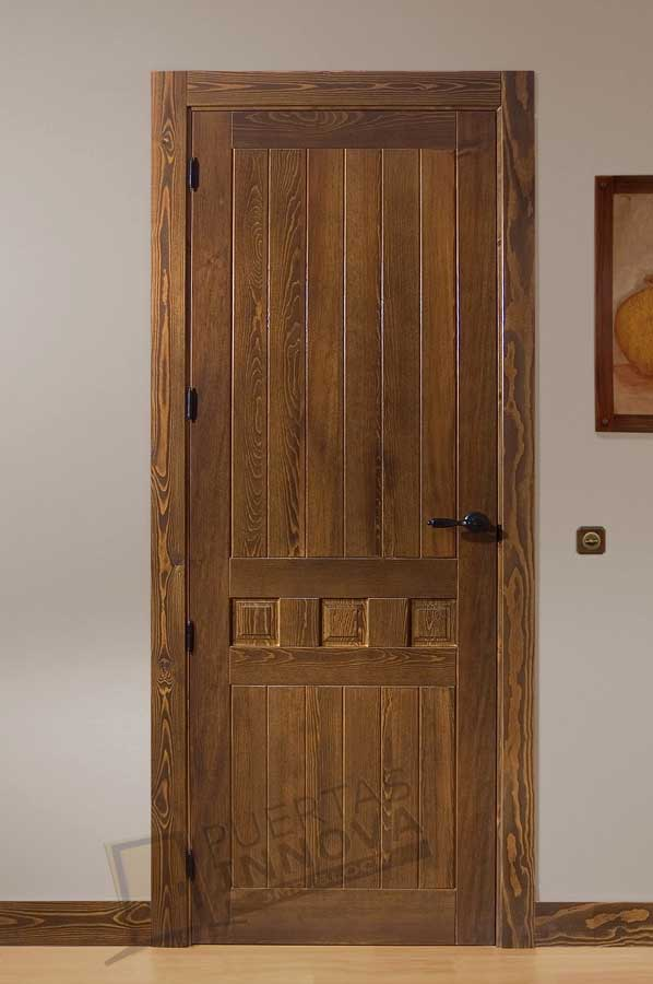 Puerta interior r stica modelo mixta 35 puertas innova s l u for Puertas interiores rusticas