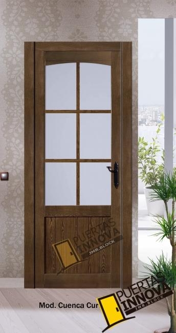 puerta interior de madera modelo Cuenca curva 6 vidrieras