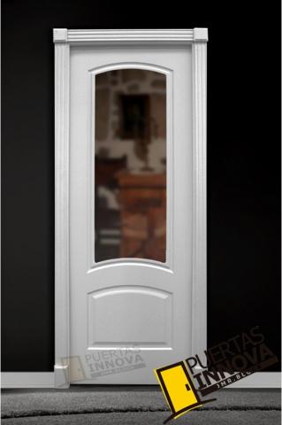 Puerta Lacada Blanca Lac 232 1v Cristal Puertas Innova S L U