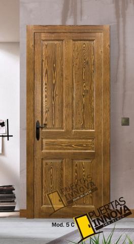 puerta interior rústica modelo 5 cuadros