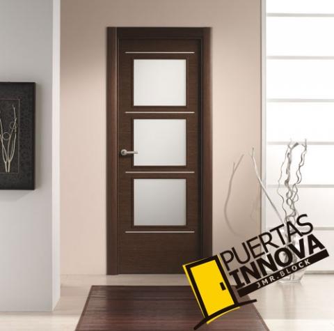 Puerta interior moderna v3 cristal aluminio for Puertas de interior modernas
