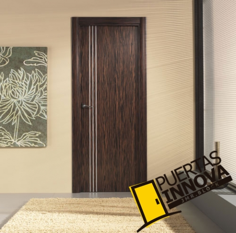 Puerta interior moderna aluminio precio base for Precio puerta madera interior
